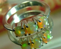 ETHIOPIAN OPAL SILVER RING 15 CTS SIZE 6  AS-A3696