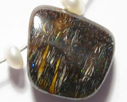 Boulder Opal Pendant with Tiger Wire setting.