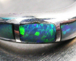 INLAY OPAL RING SIZE  6.5   18 K  WHITE GOLD   CK 276