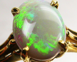 CRYSTAL OPAL RING SIZE 5.5    18 K  GOLD   CK 281