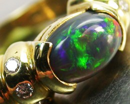 BLACK OPAL RING SIZE 5   18 K  GOLD   CK 284