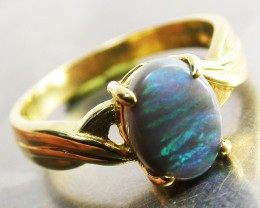 BLACK OPAL RING SIZE 6.5    18 K  GOLD   CK 289