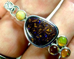 ETHIOPIAN OPAL SILVER PENDANT 27 CTS  OF-1768