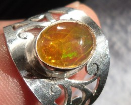 MEXICAN NATURAL OPAL GEM SILVER RING SIZE 7.25