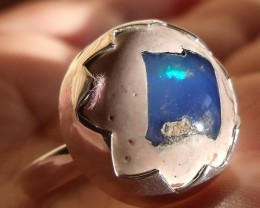 BLUE MATRIX OPAL GEM TAXCO RING SIZE 5.75