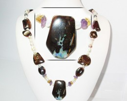 652.50 CTS BOULDER GEMSTONE NECKLACE [SOJ916]