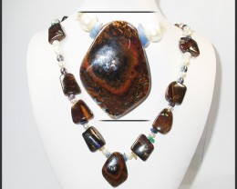 645.30 CTS BOULDER GEMSTONE NECKLACE [SOJ918]