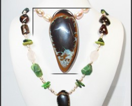 611.60 CTS BOULDER GEMSTONE NECKLACE [SOJ919]