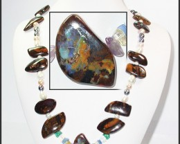 642.55 CTS BOULDER GEMSTONE NECKLACE [SOJ938]