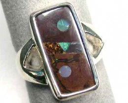 INLAY CRYSTAL OPAL INTO BOULBER OPAL RING SIZE 7  L2784