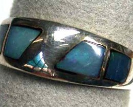OPAL INLAY,STERLING SILVER RING SIZE 6.5  L2924