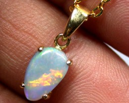 BRIGHT SUNSET ORANGE FIRE BLACK CRYSTAL OPAL PENDANT SCO416