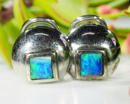 OPAL INLAY 18K WHITE GOLD EARRING  SCO526