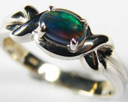 BLACK OPAL 18K WHITE GOLD RING SIZE6.5  SCO547