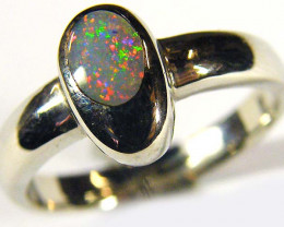 INLAY OPAL 18K WHITE GOLD RING SIZE7.5 SCO550