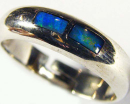 INLAY OPAL 18K WHITE GOLD RING SIZE 7 SCO567