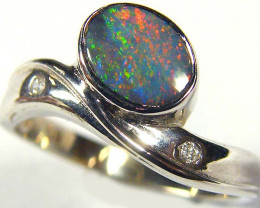 BLACK OPAL 18K WHITE GOLD RING SIZE 6 SCO575