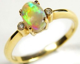 CRYSTAL OPAL 18K  GOLD RING DIAMONDS SCO  580