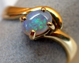 CRYSTAL OPAL 18K YELLOW GOLD RING SIZE 6.5 SCO590