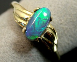 FREE SHIP BLACK OPAL 18K GOLD RING SIZE 5.5 SCO656