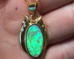 BLACK OPAL 18K GOLD  PENDANT ELECTRIC GREEN  SCO650