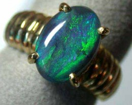 BLACK LARGE SOLID OPAL 18K GOLD RING SIZE 6 A809