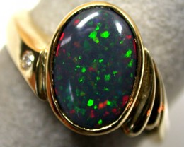 BLACK OPAL 18K GOLD RING WITH DIAMOND SIZE 9 SCO708