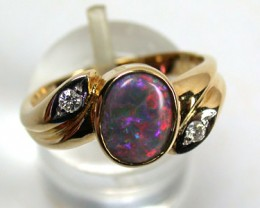 GEM BLACK OPAL FIRE RED RING SIZE 7.5  SCO715