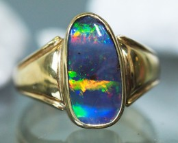 GEM BOULDER OPAL MULTI FIRE RED RING SIZE 7  SCO716a