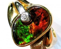 GEM BLACK OPAL FIRE RED RING SIZE 9  SCO721