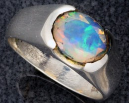 FIREY WELO OPAL-FACETED SILVER RING. RING SIZE 8 [SOJ1083]