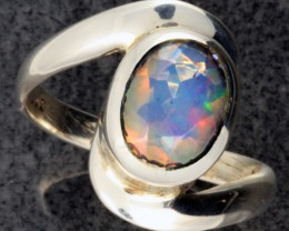 FIREY WELO OPAL-FACETED SILVER RING. RING SIZE 9 [SOJ1087]