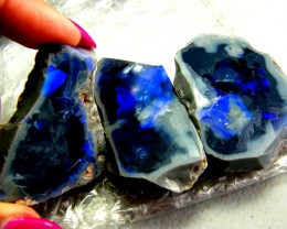 BLACK OPAL ROUGH RUBS L. RIDGE 150 CTS