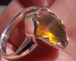 ORANGE OPAL GEM SILVER FASHION RING SIZE 7.5