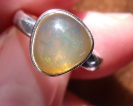 ORANGE OPAL GEM SILVER FASHION RING SIZE 6.5