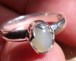 OPAL GEMSTONE SILVER FASHION RING SIZE 6.5