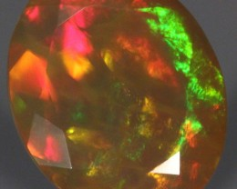 4ct. Faceted Welo Opal. Orange Honeycomb. Bright.