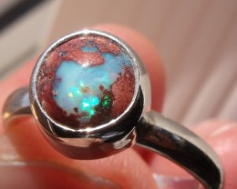 BOULDER OPAL GEM & SILVER FASHION RING SIZE 7.75