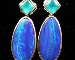 22.80 CTS DOUBLET EARRING/CHALCENDONY-FACTORY DIRECT SOJ1180