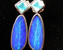 19.65 CTS DOUBLET EARRING/CHALCENDONY-FACTORY DIRECT SOJ1181