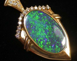 46CTS 18 K BLACK OPAL SOLID PENDANT 'THE SPADE'  [SOJsafe ]