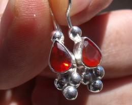 FACETED FIRE OPALS GEMS & SILVER FASHION EARRINGS