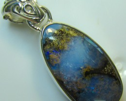 HAND MADE SILVER STAMP 925 BOULDER OPAL PENDANT 29.30 CTS A8342