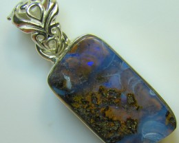 HAND MADE SILVER STAMP 925 BOULDER OPAL PENDANT 33.20 CTS A8327