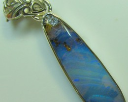 HAND MADE SILVER STAMP 925 BOULDER OPAL PENDANT 23.30 CTS A8740