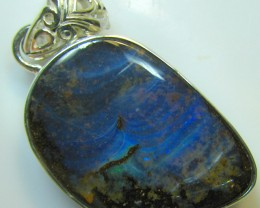 HAND MADE SILVER STAMP 925 BOULDER OPAL PENDANT 49.10 CTS