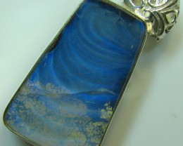 HAND MADE SILVER STAMP 925 BOULDER OPAL PENDANT 49.60 CTS A8745