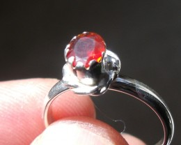 CHERRY OPAL GEMSTONE & SILVER FASHION RING SIZE 7