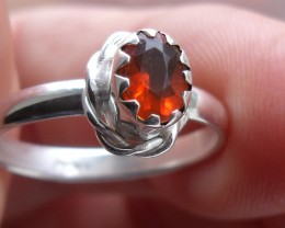 CHERRY OPAL GEMSTONE SILVER FASHION RING SIZE 7.5