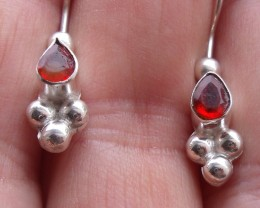 CHERRY FACETED FIRE OPALS GEMS & SILVER EARRINGS E014